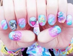 Find images and videos about pink, nails and kawaii on We Heart It - the app to get lost in what you love. Pastel Goth Nails, Goth Nail Art, Pink Nails, Pastel Makeup, Nail Polish Designs, Nail Art Designs, Cute Nails, Pretty Nails, Kawaii Nail Art