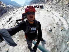 a crevasse in between my legs on mer de glace, mont blanc trip 2014