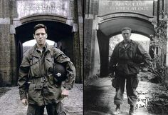 """Actor Damian Lewis standing in the same spot that Major Richard """"Dick"""" Winters stood in 1944."""