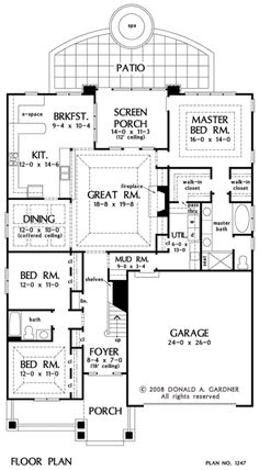 The Riverpointe House Plans First Floor Plan - House Plans by Designs Direct. Bonus room Laundry room and master closet are connected Shop House Plans, Ranch House Plans, Dream House Plans, Small House Plans, House Floor Plans, Rm 1, Narrow House, House Blueprints, Sims House