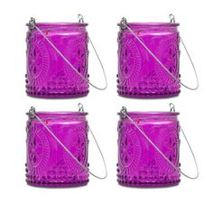 Purple Fleur-de-Lis Hanging Tealight Holder, S/4 made by Aromatic Candles & Candleholders by Northern Lights .