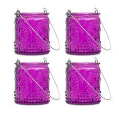Purple Fleur-de-Lis Hanging Tealight