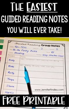 Guided Reading Notes - Teaching with Jennifer Findley