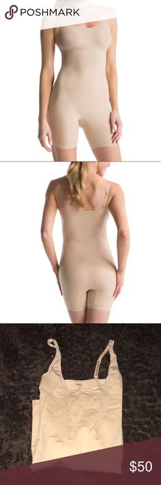 New full body Spanx shaper New without tags beige Spanx Shaper.  PRODUCT FEATURES Slimming level: super Slims your shoulder to mid-thigh Hidden tummy shaping panel Bonded hems prevent pinching Scoopneck Cotton double-gusset lining Tag-free label Assets By Spanx Intimates & Sleepwear Shapewear