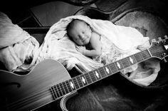 newborn baby and guitar- RJN Photography -- Rebecca Nagy