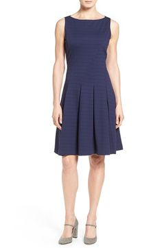 Free shipping and returns on Halogen® Ponte Fit & Flare Dress (Regular & Petite) at Nordstrom.com. Simple and ladylike, a sleeveless dress is shaped to flatter with meticulous seaming releasing into a pleated skirt. Fine horizontal ribbing adds textural interest to the supple ponte knit.