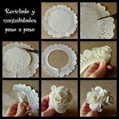 Deko: als Blume in eine Schüssel oder als Girlande Mehr You will love this cute paper doily flowers diy and they are so easy to recreate and look great. Flor de papel, paper doilies turned into flowers tutorial Cut flower costs with paper ones. Paper Doily Crafts, Doilies Crafts, Paper Flowers Diy, Handmade Flowers, Flower Crafts, Diy Paper, Paper Crafting, Fabric Flowers, Fabric Paper