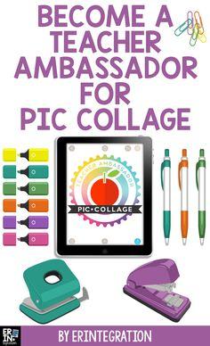 I've joined Pic Collage's Teacher Ambassador Program & will be teaming up with other passionate educators to learn and share ideas for using this fantastic digital tool in the classroom. If you have ever visited my website - www.erintegration.com - then you know how much I love using Pic Collage! Are you a teacher integrating Pic Collage into your lesson plans? I would love to collaborate with you! Click the link to read more & sign up for Pic Collage's Teacher Ambassador Program. Becoming A Teacher, Technology Integration, Beginning Of School, Chromebook, Second Grade, Lesson Plans, Homeschool, Product Launch, Collage