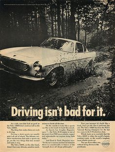 An original 1965 advertisement for Volvo car. A photo print of the car driving through the mud and splashing around. Volvo P1800s, Volvo Trucks, Volvo Amazon, Lakeside Camping, Sport Truck, Car Advertising, Weekends Away, Print Ads, Vintage Ads