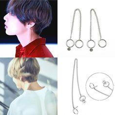 2X Kpop Bts Suga V Stud Earrings F.T.I Honggi Lee Fashion Jewelry Bangtan Boys