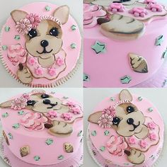 Torta con la perrita de Simones @simonesbags para el primer añito de Pilar!!! ⭐️⭐️ #mix #cake #cakedesign #simones #dog #cumpleaños #primerañito #birthdaycake #pink Puppy Birthday, Themed Birthday Cakes, 4th Birthday, Puppy Party, Cat Party, Dog Cafe, Funny Cake, Dog Cookies, Pretty Cakes