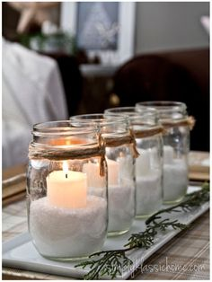 I could turn this idea into an Advent wreath. Non Traditional Advent Candles - Yellow Bliss Road - I have plenty of mason jars All Things Christmas, Winter Christmas, Christmas Home, Christmas Crafts, Christmas Candles, Christmas Ideas, Simple Christmas, Homemade Christmas, White Christmas Party Theme