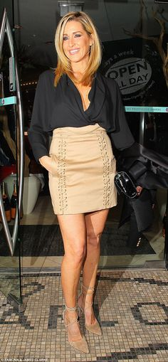 Chic: The WAG put on a leggy display in a super-short mini as she was joined for her night...
