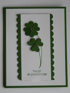 March Stampin' Up! Valentine Greeting Cards, Greeting Cards Handmade, St Patricks Day Cards, Saint Patricks, St Patrick's Day Crafts, Scrapbook Cards, Homemade Cards, Stampin Up Cards, Making Ideas