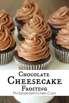 This Chocolate Cheesecake Frosting tastes just like whipped chocolate cheesecake! It is a simple chocolate cream cheese buttercream that pipes beautifully unto cupcakes or cakes. A hint of almond extract brings out the bold chocolate flavor making this frosting a chocolate lover's dream!