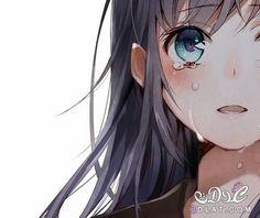 Hair Blue Anime Kawaii 62 New Ideas Anime Neko, Kawaii Anime Girl, Manga Kawaii, Anime Eyes, Manga Anime, Anime Girl Crying, Sad Anime Girl, Anime Art Girl, Anime Love
