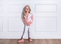 Reversible Bomber by Chantilli Collection features two side pockets on both sides, baseball collar, reversible, silver zip and ribbed cuffs and hem. Satin Bomber Jacket, Bomber Jackets, Antique Roses, Mother And Baby, Kids Fashion, Capri Pants, Patches, Smooth, Peach