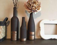 Neutral Designed Bottles Two Bottle Set by DrunkenDesigns on Etsy