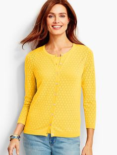Charming Cardigan - Pointelle Stitched - Talbots
