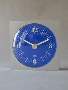 Vintage wall clock West German Krups silver blue by MightyVintage
