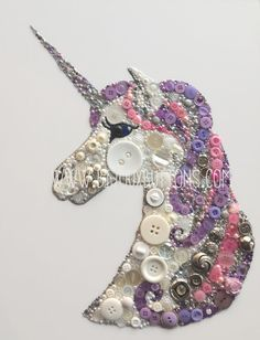 This gorgeous sparkling unicorn is composed of hundred of pink, purple and silver embellishments, it truly sparkles in person and is presented