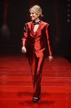 Maureen McCormick walks the runway at the American Heart Association's Go Red For Women Red Dress Collection 2017 presented by Macy's at Fashion Week in New York City. Peter Gallagher, Maureen Mccormick, The Brady Bunch, Go Red, Dress Collection, Punk, Actresses, Actors, American