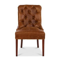 Castello Brown Cerato Leather In Huntingtower Grape Out Harris Tweed dining chair front view - Modish Living