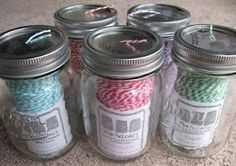 A great storage idea for Baker's Twine! Store in Pint-Sized Canning Jars and use the Crop-A-Dile Big Bite to put a hole in the center of each lid.