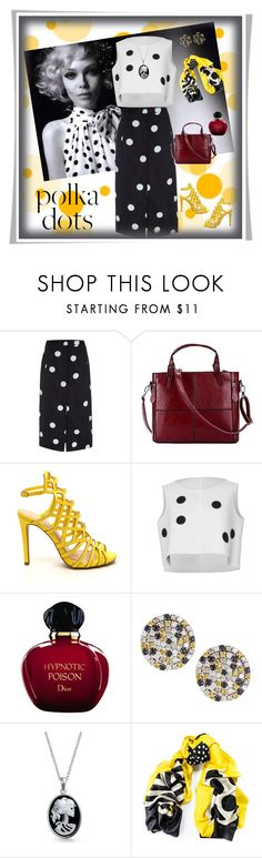 """""""Dottie"""" by izimaher ❤ liked on Polyvore featuring White House Black Market, Paul Smith, Christian Dior, Roberto Coin, Bling Jewelry, Black and PolkaDots"""