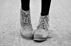 grey booties + black tights