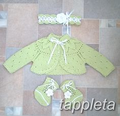 bolero, booties, headband lighte green