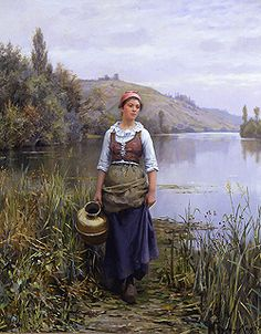 By the Riverside by Daniel Ridgway Knight - 32 x 25 1/2 inches Signed and inscribed Paris paris salon french academic rolleboise women in gardens