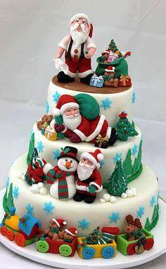 Yummy Santa Christmas Cake Decorating Ideas, 2013 Creative Christmas Food Ideas, How To Decorate Christmas Cake Christmas Cake Decorations, Christmas Sweets, Holiday Cakes, Noel Christmas, Christmas Goodies, Christmas Baking, Christmas Cakes, Christmas Wedding, Xmas Cakes