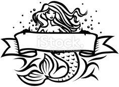 Mermaid tattoo Royalty Free Stock Vector Art Illustration