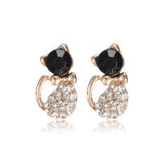 Rhinestone Cat Stud Earrings