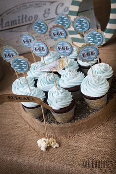 blue cupcake 16th Birthday, First Birthday Parties, First Birthdays, Happy Brithday, Blue Cupcakes, Travel Party, Happy B Day, Frozen Party, Baby Kids