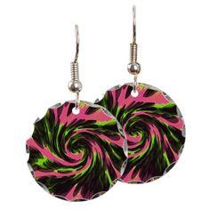 Groovy Earrings pink green black abstract design #cafepress #jewelry #earrings