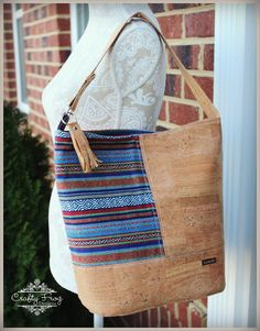 Peruvian Cork Bonnie Bag - Cork Leather - Ethnic bag - Bucket Bag - Cork leather bag - New to Crafty Frog Designs, a new look! Introducing the