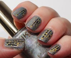 Easy stripes and dots on grey holographic...
