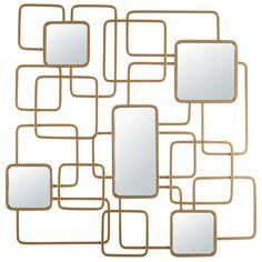Specchio in metallo dorato 92x92 cm ... -