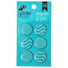 Round Magnets, 6pk - Aqua Chevron