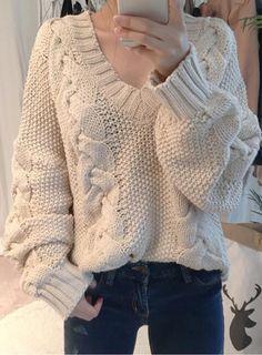 Joker Braided Knitting Plus Size Sweater Plus Size Sweaters, Cozy Sweaters, Cable Knit Sweaters, Loom Knitting, Knitting Patterns Free, Cardigan Pattern, Knit Fashion, Cool Things To Make, Knit Crochet