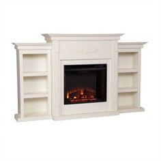 Southern Enterprises Fredricksburg Electric Fireplace w/ Bookcases in Ivory - Walmart.com