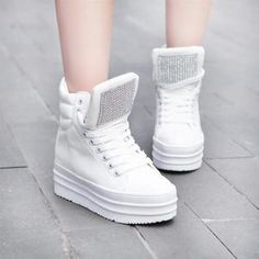 2afd2c0fd97 New Women s Crystal Studded High Top Platform Lace Up Sneakers Shoes Boots  F42