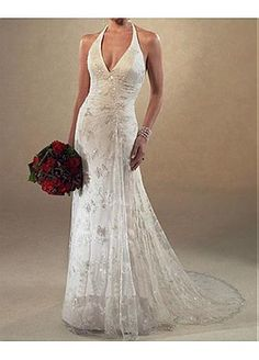 Beautiful Elegant Lace Sheath Halter Wedding Dress In Great Handwork