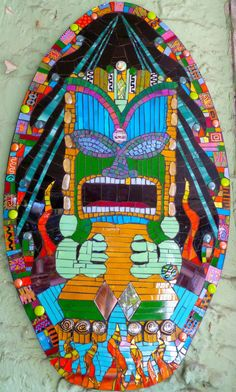Mosaic Tabu Tiki Idol Wall Hanging Handmade Painted by goodgaud28, $425.00