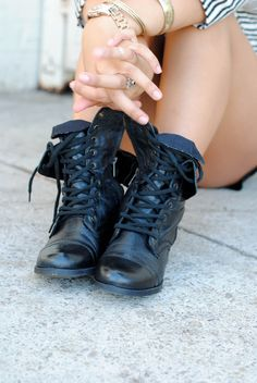 Balck Leather Combat Boots. My Fave All Time (: @ Wet Seal or Wherever You See Em , I Got Mines For Like $29.99 When They Came Out .