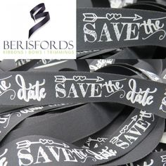 This Black Wedding Ribbon from Berisfords features the words Save the Date in white giving a wonderful chalkboard art feel that would be perfect for that Handmade Wedding Stationary. Ribbon Crafts, Ribbon Bows, Ribbons, Chalkboard Art, The Perfect Touch, Chalk Art, Wedding Stationary, Handmade Wedding, Save The Date