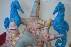 SEASHELLS SEAHORSES and STARFISH Fabric Decorations by sherimusum, $25.00