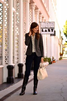 polka dot button up + wool blazer + skinnies + black riding boots